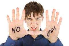 Teenager with Refusal gesture Stock Image