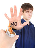 Teenager refuse Cigarettes Royalty Free Stock Images