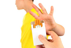 Teenager refuse Cigarettes stock photos