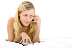 Teenager relaxing with mobile Stock Photo