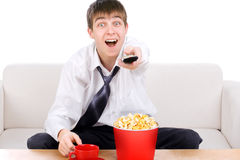 Teenager with Remote Control Royalty Free Stock Photo