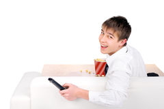 Teenager with Remote Control Royalty Free Stock Photos