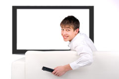 Teenager with Remote Control Stock Photography
