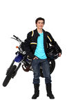 Teenager riding a motorbike Stock Images