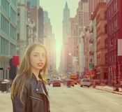 Teenager rock girl in New York street photomount Stock Photo