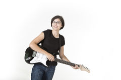 Teenager is rocking on guitar Stock Images