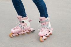 Teenager on roller skates. Stock Image