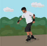 Teenager roller skating Royalty Free Stock Photos