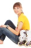 Teenager with rollerblades Royalty Free Stock Photo