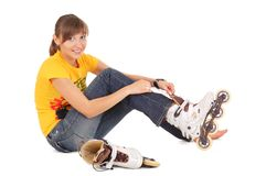 Teenager with rollerblades Royalty Free Stock Images
