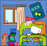 Teenager room Mess. An illustration of a typical messed room of a teenager. Eps file available Royalty Free Stock Image