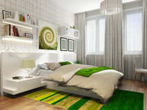 Teenager room with a bed. A green carpet Royalty Free Stock Image