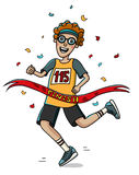 Teenager runner cross the finish line. Cartoon style. Marathon. Royalty Free Stock Images