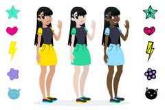 Teenager s girls with black hair. Character . Isolated against white background. Build your own design. Cartoon flat-style v. Teenager s girls with red and blue vector illustration