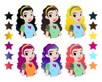 Teenager s girls head with different color hair. Character . Isolated against white background. Build your own design. Carto. On flat-style illustration vector illustration
