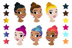 Teenager s girls head with different color hair. Character . Isolated against white background. Build your own design. Carto. On flat-style illustration stock illustration