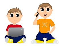 Teenagers interests. Teenager using smartphone and laptop Stock Illustration