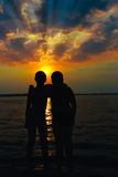Teenager's silhouettes royalty free stock images