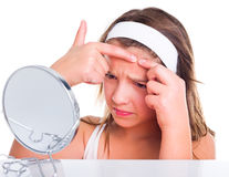 Teenager's skin problem concept Stock Images