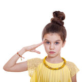 Teenager salutes, his hand on his head Royalty Free Stock Image