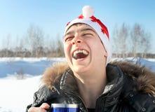 Teenager in Santa Hat Stock Photo