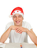 Teenager in Santa Hat Royalty Free Stock Images