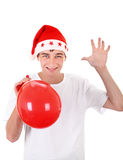 Teenager in Santa Hat Stock Images