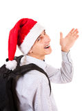 Teenager in Santa Hat. Happy Teenager in Santa Hat wave Goodbye on the White Background Stock Photography