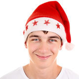 Teenager in Santa Hat Royalty Free Stock Photography