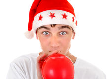 Teenager in Santa Hat Royalty Free Stock Photo