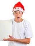Teenager in Santa Hat Stock Image