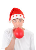 Teenager in Santas Hat Royalty Free Stock Photo