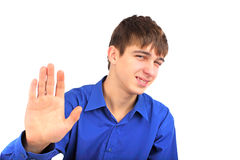 Teenager say no. The teenager shows no gesture Royalty Free Stock Photo