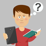 Teenager school boy chosing between tablet and textbook with question mark over his head. Teenager school boy chosing between a tablet and textbook with question Royalty Free Stock Photos