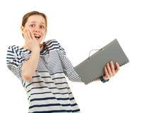 Teenager schoolgirl with textbook Stock Photo