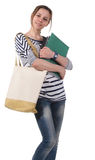 Teenager schoolgirl with textbooks Stock Photography