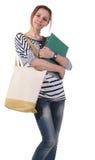 Teenager schoolgirl with textbooks Stock Photography