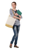 Teenager schoolgirl with textbooks Stock Photos