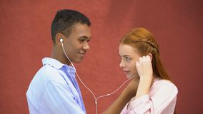 Teenager sharing earphones with girlfriend listening to favorite lyric song. Stock footage stock video