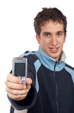 Teenager showing cell phone sc Stock Photo