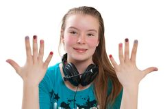 Teenager showing manicure Royalty Free Stock Photos