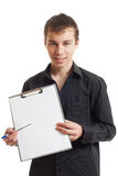 The teenager shows a folder Royalty Free Stock Photo