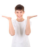 Teenager shows his Palms Royalty Free Stock Images