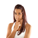 Teenager with silence sign Stock Photos