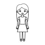 Teenager silhouette with long hair and skirt Royalty Free Stock Photography