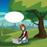 Teenager sitting in city park Stock Photo