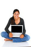Teenager Sitting with Laptop Royalty Free Stock Image