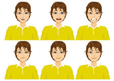 Teenager on six different face expressions set Stock Image