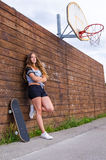 Teenager on skateboard court Royalty Free Stock Images