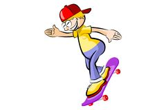 Teenager on skateboard isolated Royalty Free Stock Photography